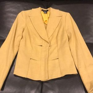 Mustard Linen Blazer with peek-a-boo splits